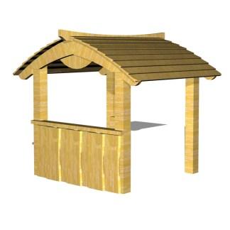 Öppen lekstuga, robinia/lärk från Woodwork AB