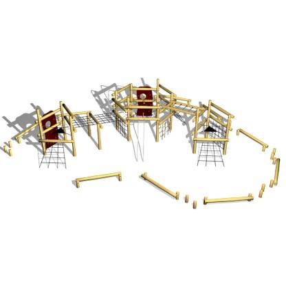 Woodwork AB-klätter- och balanssystem i robinia