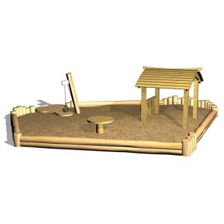 Woodwork AB, Sandlåda med lekhus, sandkran, bakbord