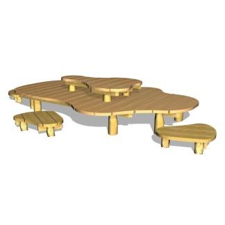 Woodwork AB-sittgrupp-bänkar i nivåer