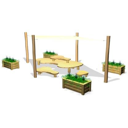 Woodwork AB-ChillOut-bord,bänkar, solsegel