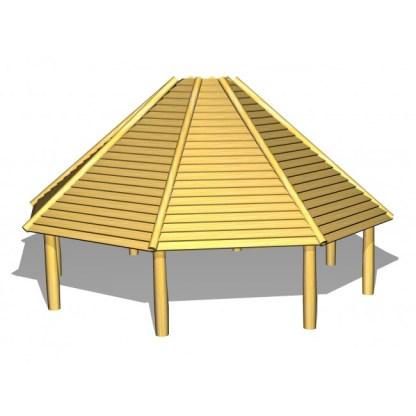 G7011 8-kantigt multihus i robinia och lärk från Woodwork AB
