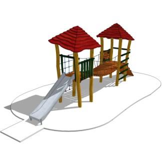Torn med hängbro, klätternät, klättervägg och rutschkana-Woodwork AB