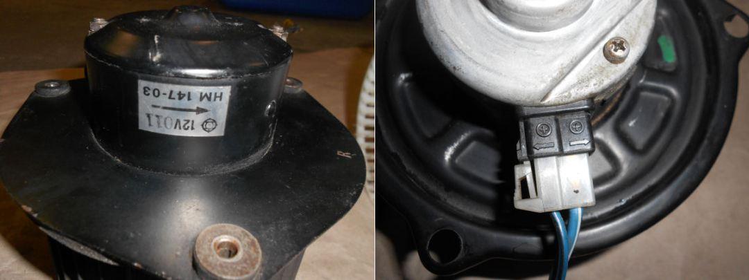 Comparison of stock 240Z blower motor and Honda blower motor