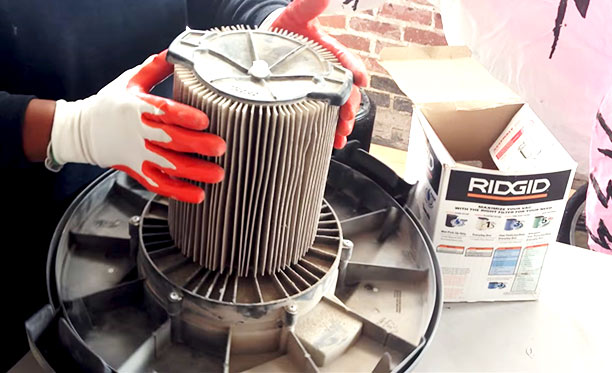 how to change filter on Ridgid shop vac