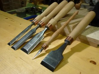 Refurbished Chisels with Replacement Handles by Matthew Chapman