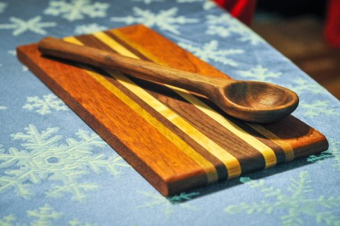 Walnut Spoon With Cutting Board by John Moore