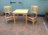 Dining chairs and small dining table. Made from pine finished with Ronsil mat varnish. Followed Paul's videos and plans.