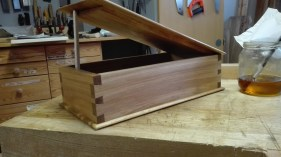 Beech box with rebated lid, finished with linseed oil.