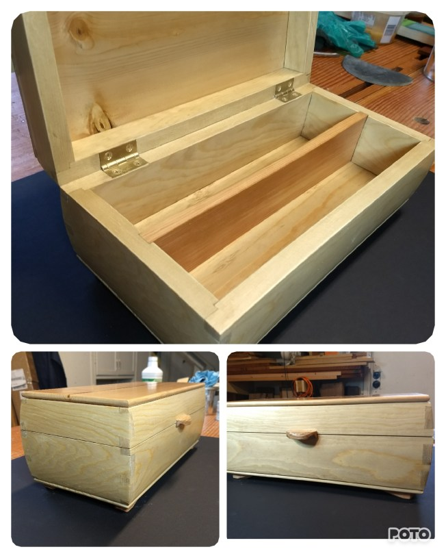 Another white pine box. I used an aniline dye to give it more warmth and gave it a lift lid and feet in red oak.