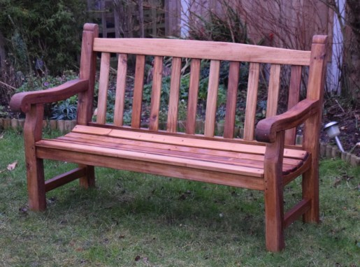 This garden bench was made from genuine teak. The timber cost £800 - so not for the weak hearted. The pattern was taken from another (ex public) park bench but with enbellishments of my own. Without the inspiration and help from Paul's videos I would never have contemplated doing this project. Hey, it's not perfect but you would not know it from the picture. All joints are draw bore joints. Seat slats are screwed with brass screws and plugged with teak.