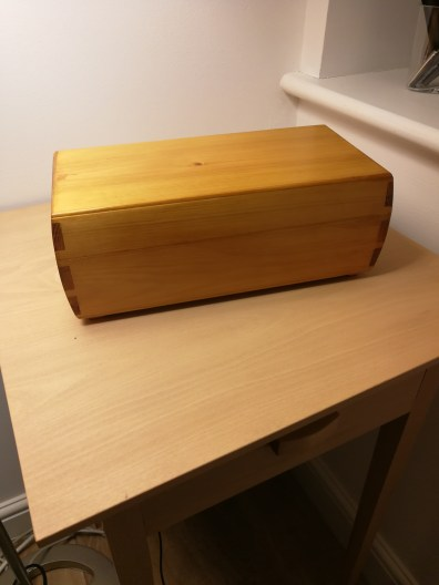 Used some pine offcuts. Ended much better than expected. Finished with few coats of shellac.