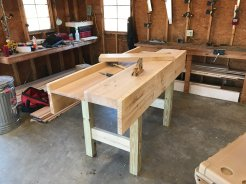 My lifetime bench. Pine, maple wellboard, treated pine legs(not my first choice).