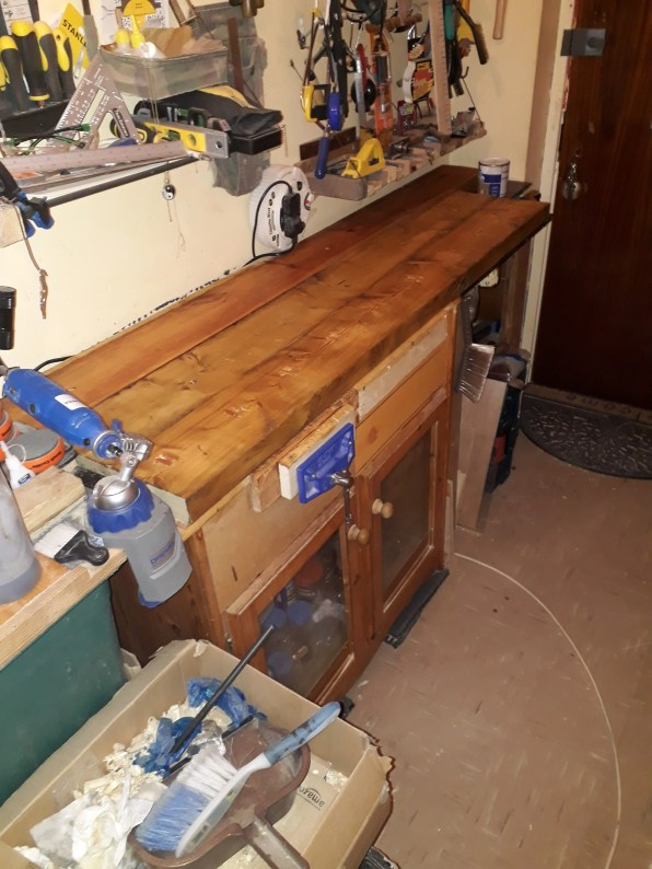 i had a 3ft bench which wasn,t big enough so i extended it to make a 6-8 ft bench using a pallet of wood then to top it of put plywood across the top then joined this to my old 3 ft bench which is handy as it has alot of space inside for tools etc, then i got some timber squared and milled the lengths of timber i think the timber is pine but im not to sure as the wood was given to me by a vicar ,and what a god send this was, as i now have the bench i have always wanted or there about,s as since watching paul laminate and the way he has made benches is something i admire, but for now im happy could do with half a ft in width but i dont have the space the length in total is 5ft towards the front and 8ft at the back i had to make it smaller at the front otherwise i wouldnt get out of the front door,but thank you paul for everything you have shared i have learned so much from you in a short time its brilliant the way you explain everything and a lot of the tools i own is down to you explaining the good the bad and the ugly,i am now a record fan absolutely love record and sorby. any way here is pics of the bench. best wishes to paul sellers and every one on this fantastic site of knowledge