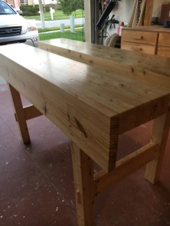 New workbench made from SPF from the big box store. Had to plane up quite a bit as it was not the clearest but it worked . Finished with shellac and 0000 wire wool and wax.