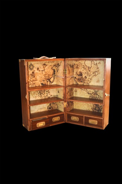 Portable campaign bookcase of Sapele Drawers are dovetailed and hardware is inset.