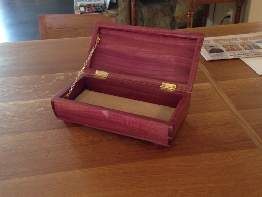 Keepsake Box of Purple heart. Not the easiest for working with. The groove for the lid cracked along the length and I had to shorten it a bit. Still turned out well though.