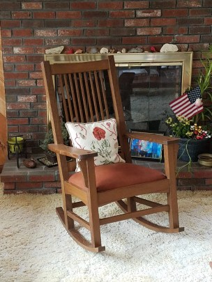 Paul's rocker, my first ever chair. quarter sawn white oak, finish is fumed with Danish oil and buffed with bree wax.