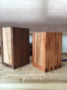Walnut and curly maple. Mahogany and curly maple