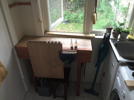 Mini work bench. Leg frames in Jarrah (recycled house frame), benchtop in Tasmanian Oak (found in dumpster at worksite) apron in Redgum.