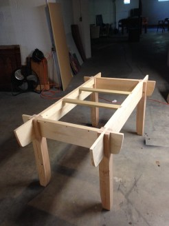 Assembly table of pine with poplar cross bearers. I am fortunate enough to have the room for this in my shop. I am sure it will be well used. As Paul stated I can see a picnic table, bed and several other pieces derived from this design. Thanks to everyone at WWMC.