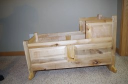Baby cradle made from discarded maple pallets