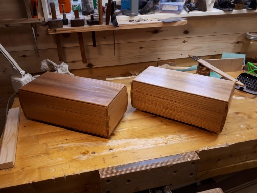 Two keepsake boxes made from elm, and given 4 coats of shellac. Nice project, and good drawings to work to.
