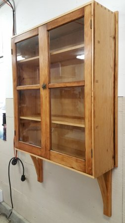 Tool Cabinet - Jam Cupboard Salvage: 100+ yr old salvaged (bruised, worm-holed) Douglas-fir with turn of the century mouth-blown glass.