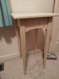 Simple table to use as a bedside table.