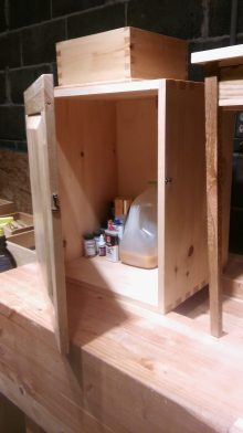My shop cupboard to house all of my finishing products as well as some sharpening oils.