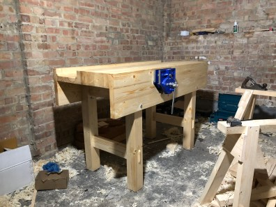 Workbench made pine 4x2's. Took a long time to build but sure beats working on a wobbly black and decker workmate! Was a great learning experience and really enjoyed the build.