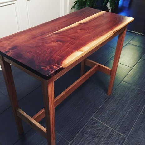 Walnut/oak sofa table made for my uncle. The walnut was cut down over 30 yrs ago by my uncle.