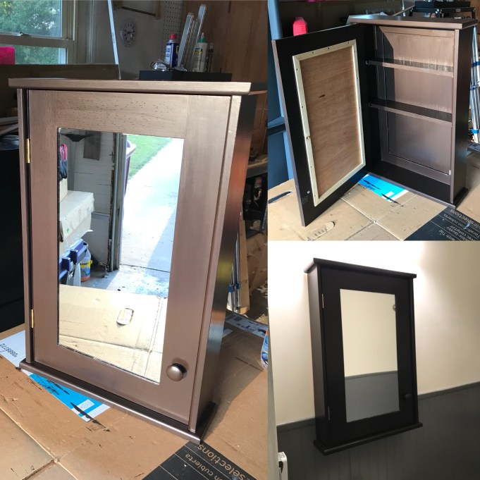 Made from pine with oak plywood; finished with General Finishes Dark Chocolate Milk Paint and Arm-R-Seal finish