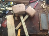Reclaimed something for the mallet head that was so light the pine handled were far heavier than the heads