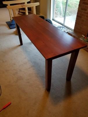"""24"""" w by 72"""" by 36"""" h sofa table quarter sawn white oak"""