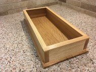 Chisel tray with ash sides (rift sawn) and a white oak bottom (quartersawn). Finished with shellac and wax. This was the first project that I made using my new Paul Sellers workbench!