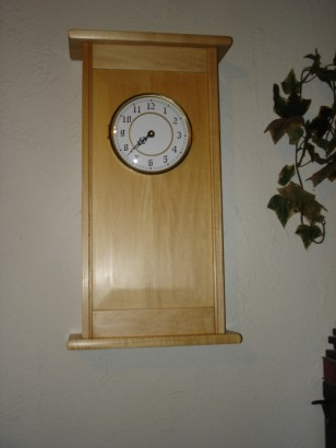 Wall clock in basswood with oil and wax finish. I resized the project to fit the clock dial.