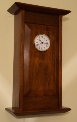 Walnut clock, the second claock I have made to the Paul Sellars design (or close to anyway). Finished in French Polished Shellac.