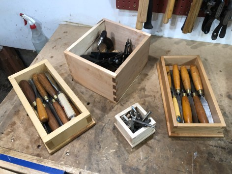 Collection of dovetail boxes for tools