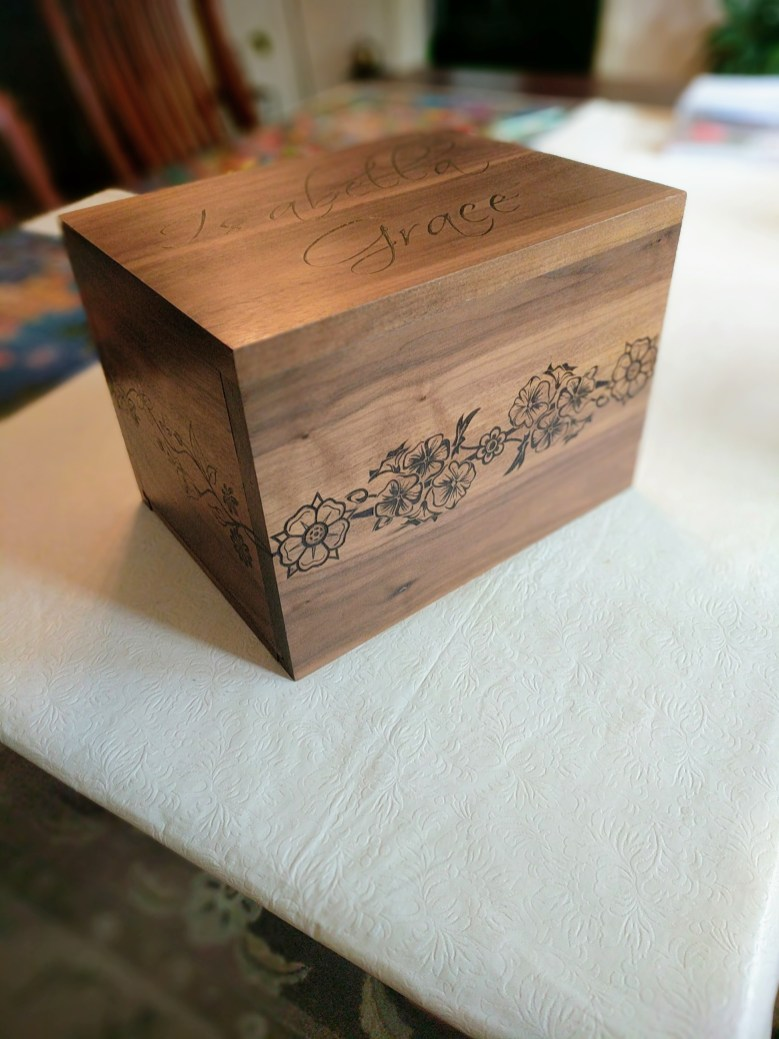 Walnut box I made for my daughter's sweet 16.