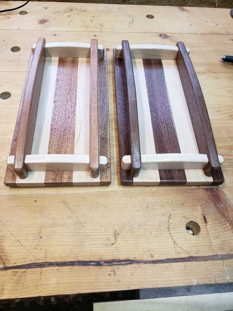 Pauls wooden tray design . Maple/walnut and maple/mahogany