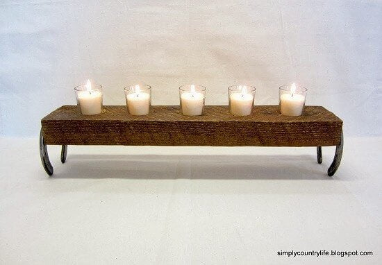 Wood Block & Horseshoes Candle Stand Tutorial