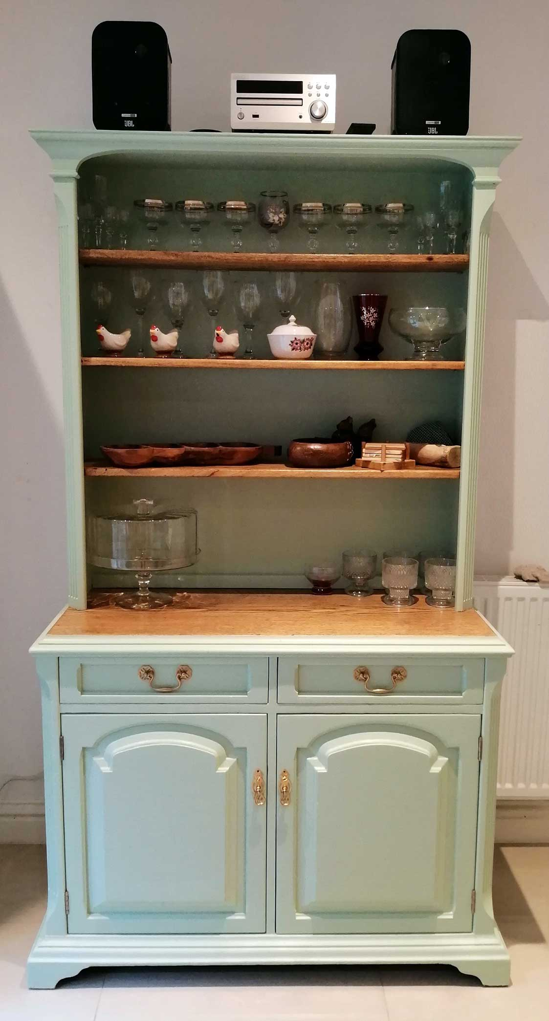 Welsh dresser completed and filled with crockery