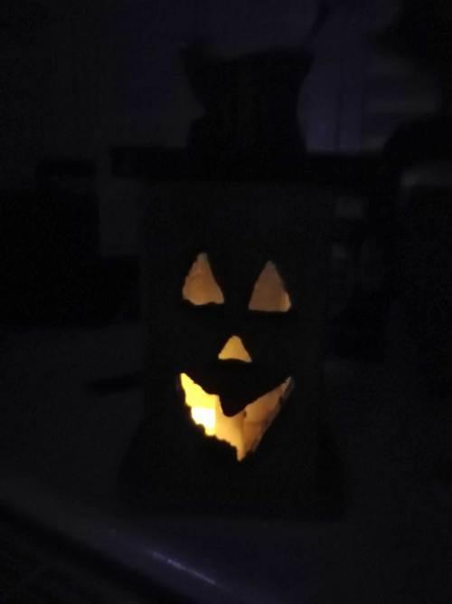 Wooden Jack O'Lantern - In the dark