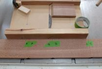 6.) Lay pieces out as cut to maintain grain continuity, I use tape for marking