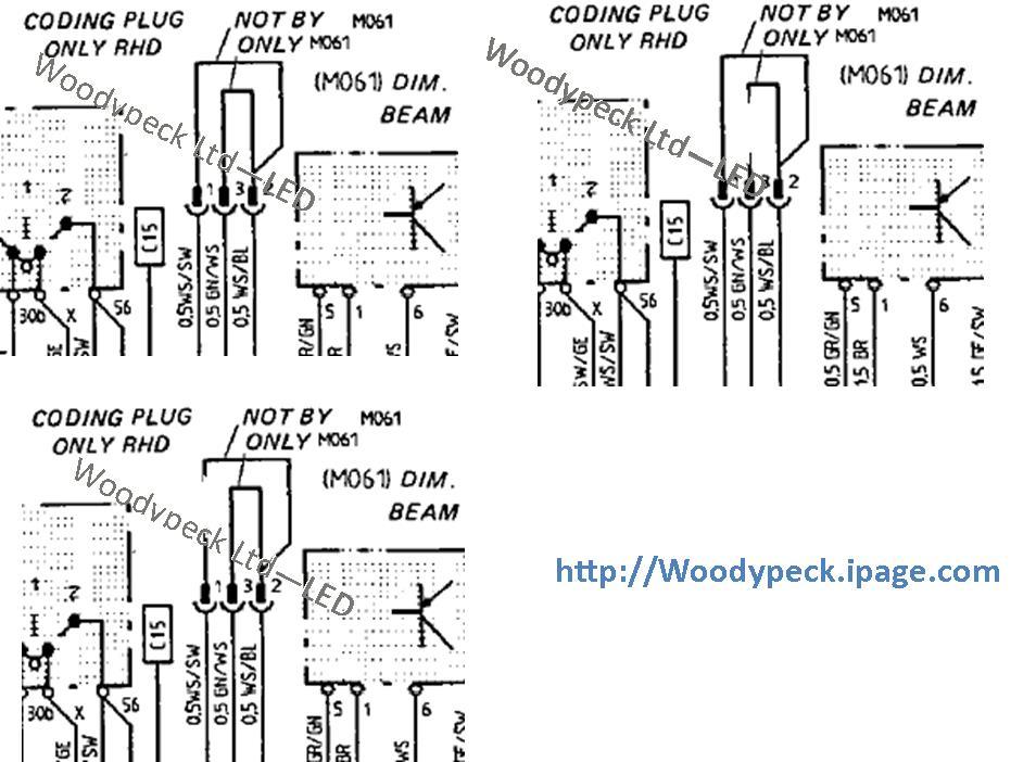 1987-1988 Dim Dip – Coding Plug wiring diagrams