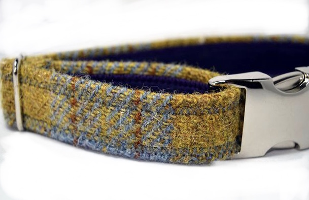 Mustard and Grey Harris Tweed Dog Collar