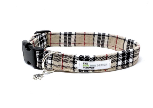Beige Tartan Dog Collar