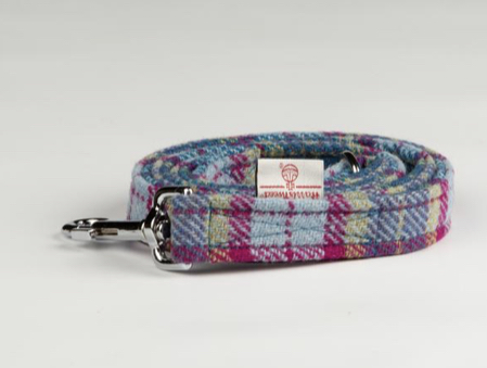 Mulberry And Turquoise Check Luxury Harris Check Lead