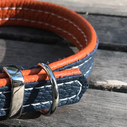 Soft Padded Leather Dog Collar - Navy on Orange